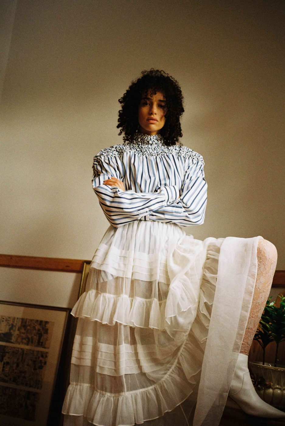 Navy and White cotton shirt white stripe design, oversize fit, long sleeves, high neckline, gathered yoke. Photo 2