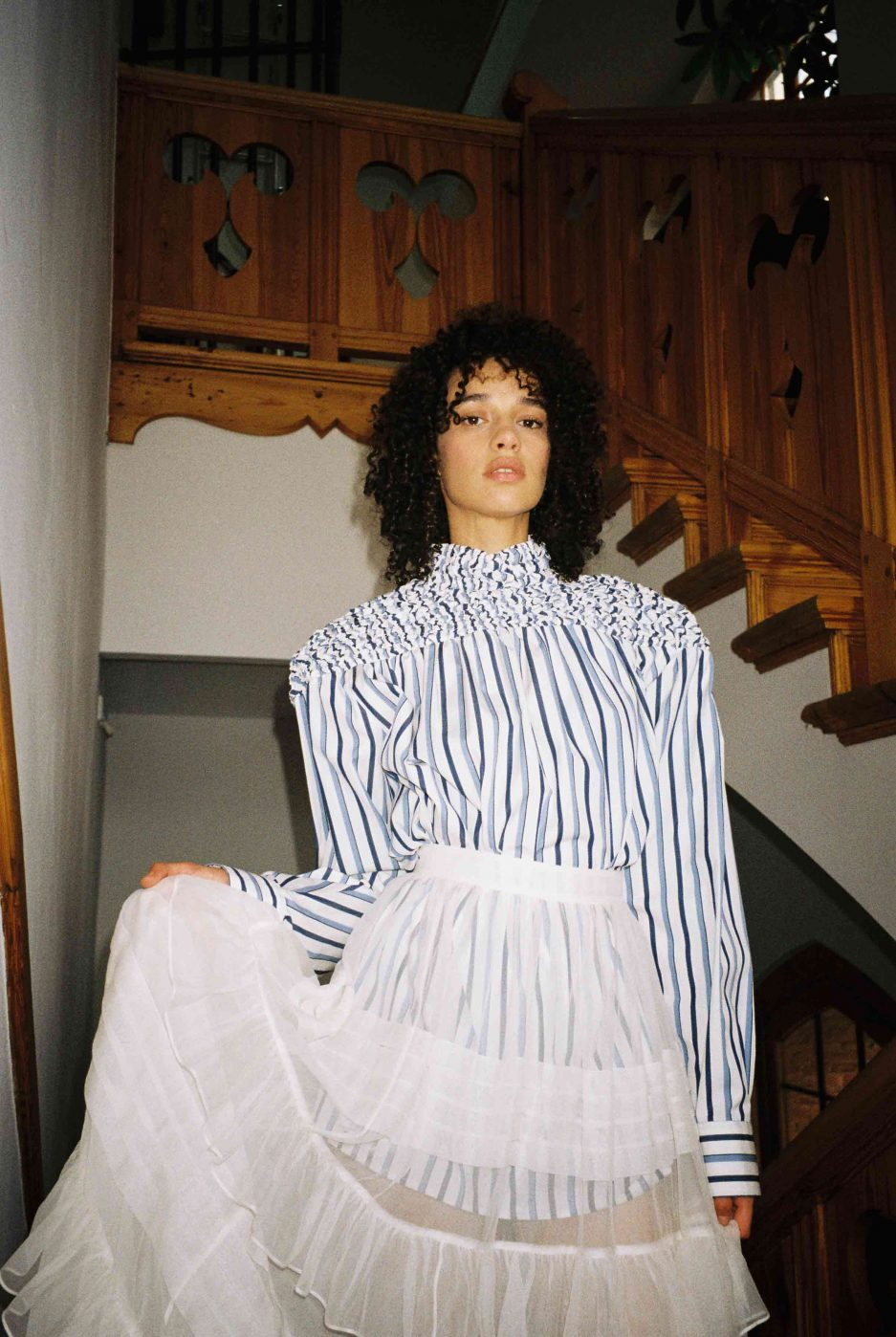 Navy and White cotton shirt white stripe design, oversize fit, long sleeves, high neckline, gathered yoke. Photo 3
