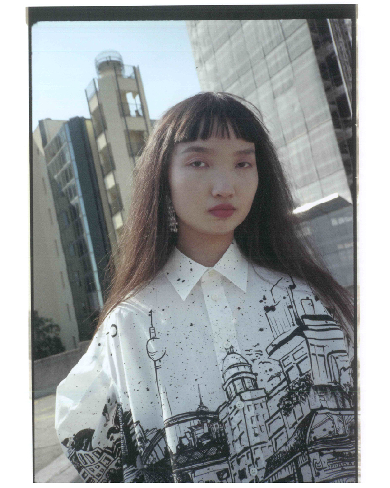 Cotton shirt featuring exclusive havana print, oversize fit, long sleeves, button down collar and rounded hemline. Berlin Skyline. Photo 4