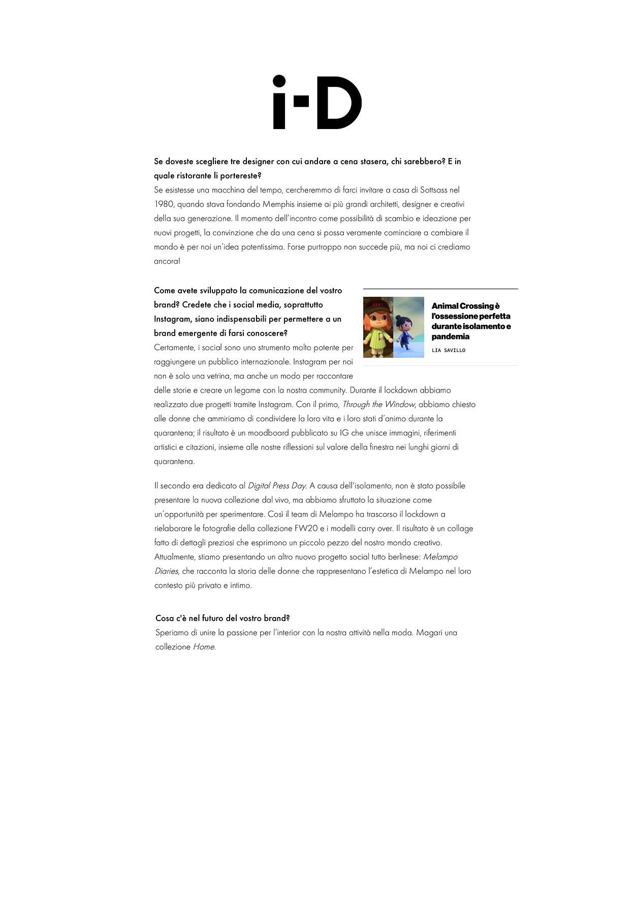 melampo interview on i.D magazine - photo 4