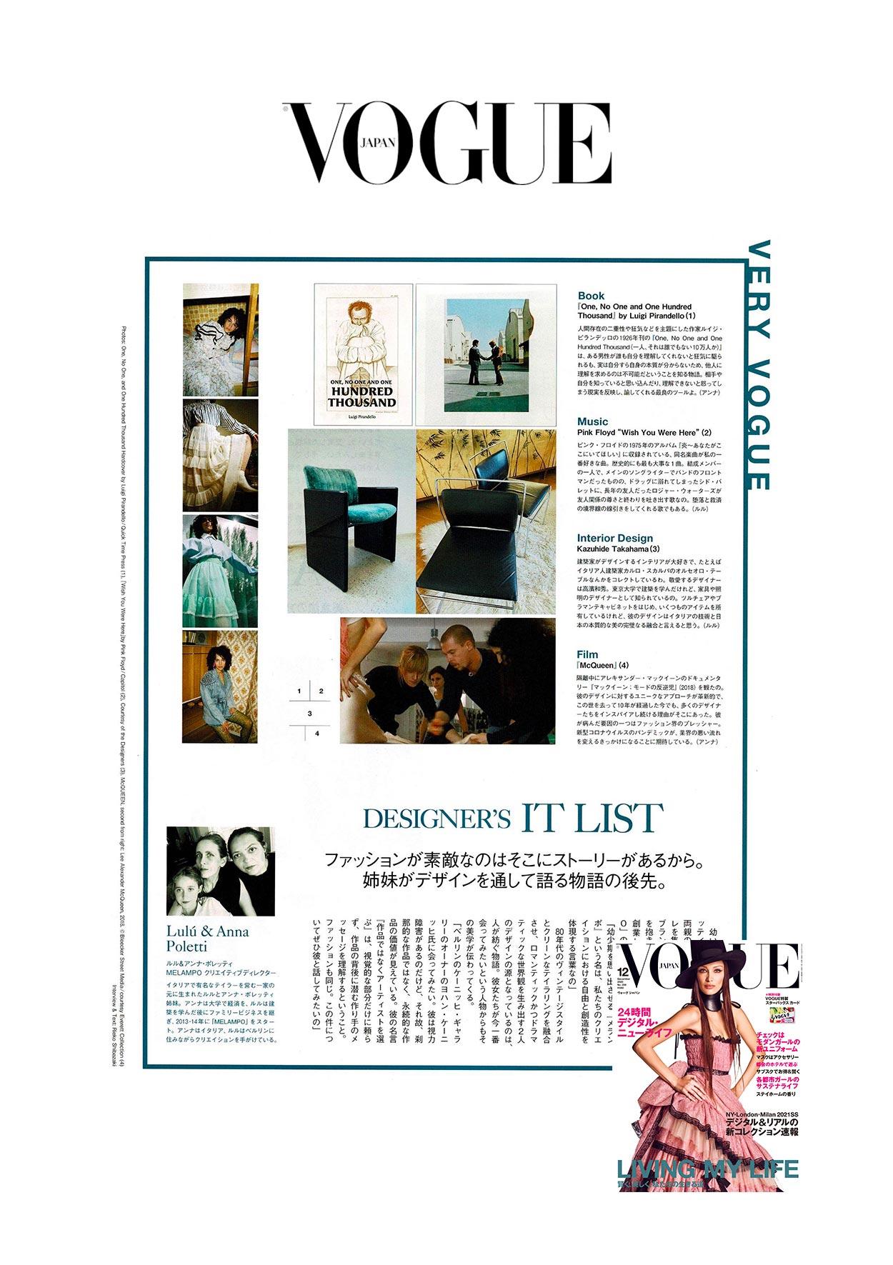 melampo interview on vogue Japan magazine