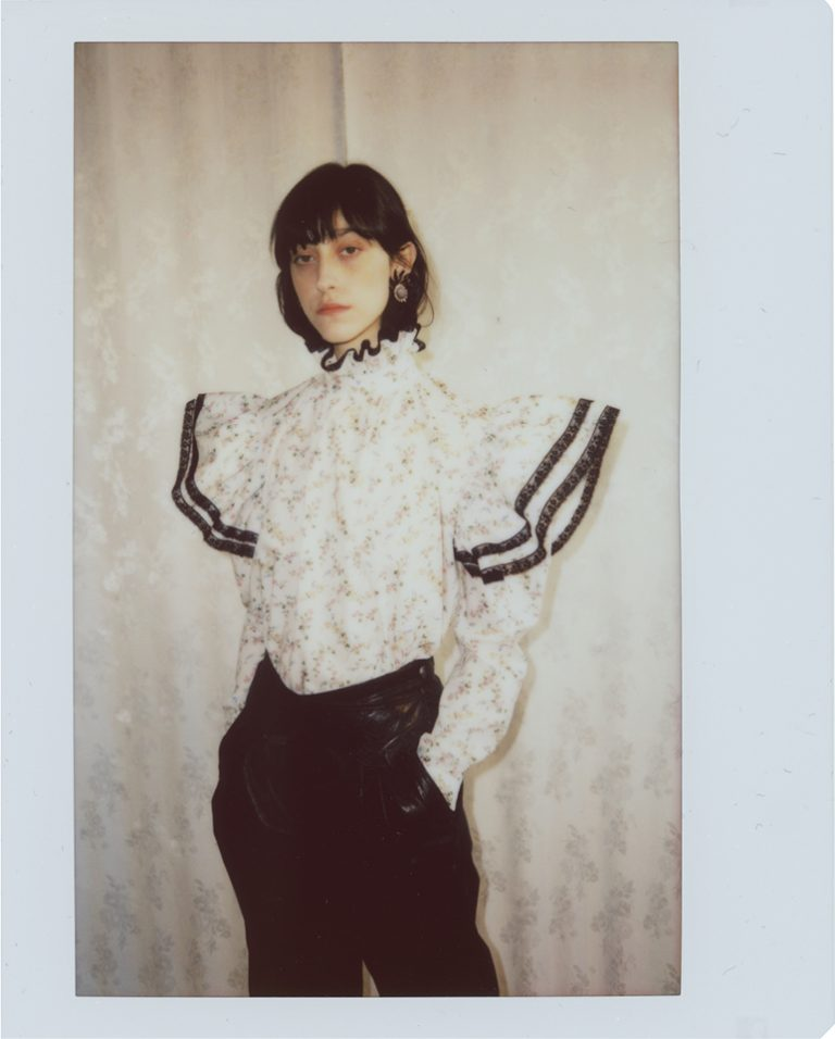 White cotton shirt with Liberty London floral print,, loose fit, long volume sleeves with gathered wing ruffles, high collar. Photo 1