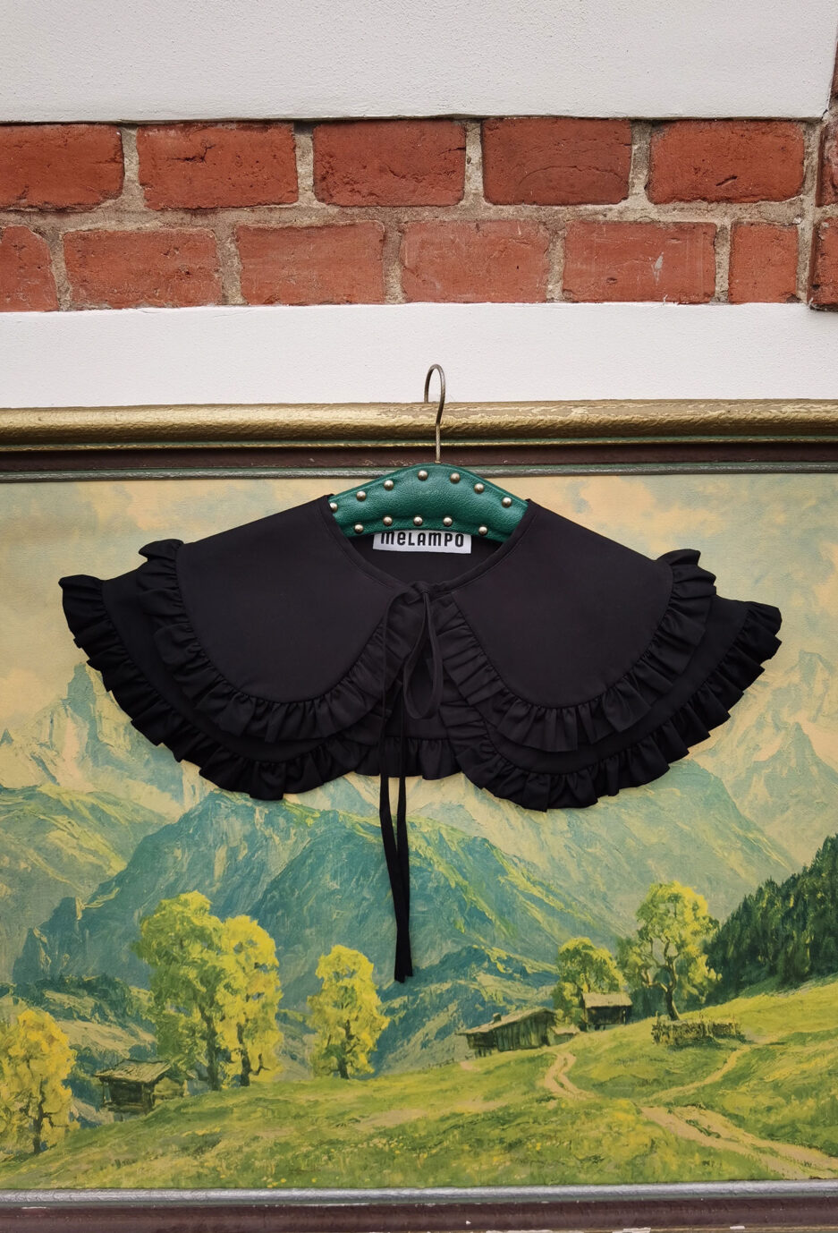 Black cotton poplin double penny collar with ruffles and and self tie fastening - photo 3