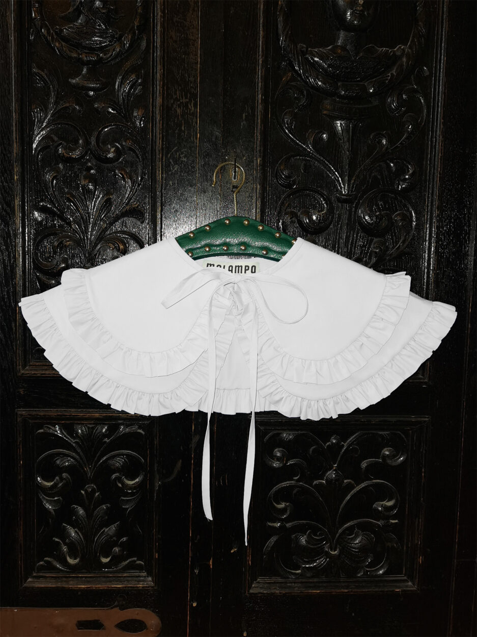 White cotton poplin double penny collar with ruffles and and self tie fastening - photo 2