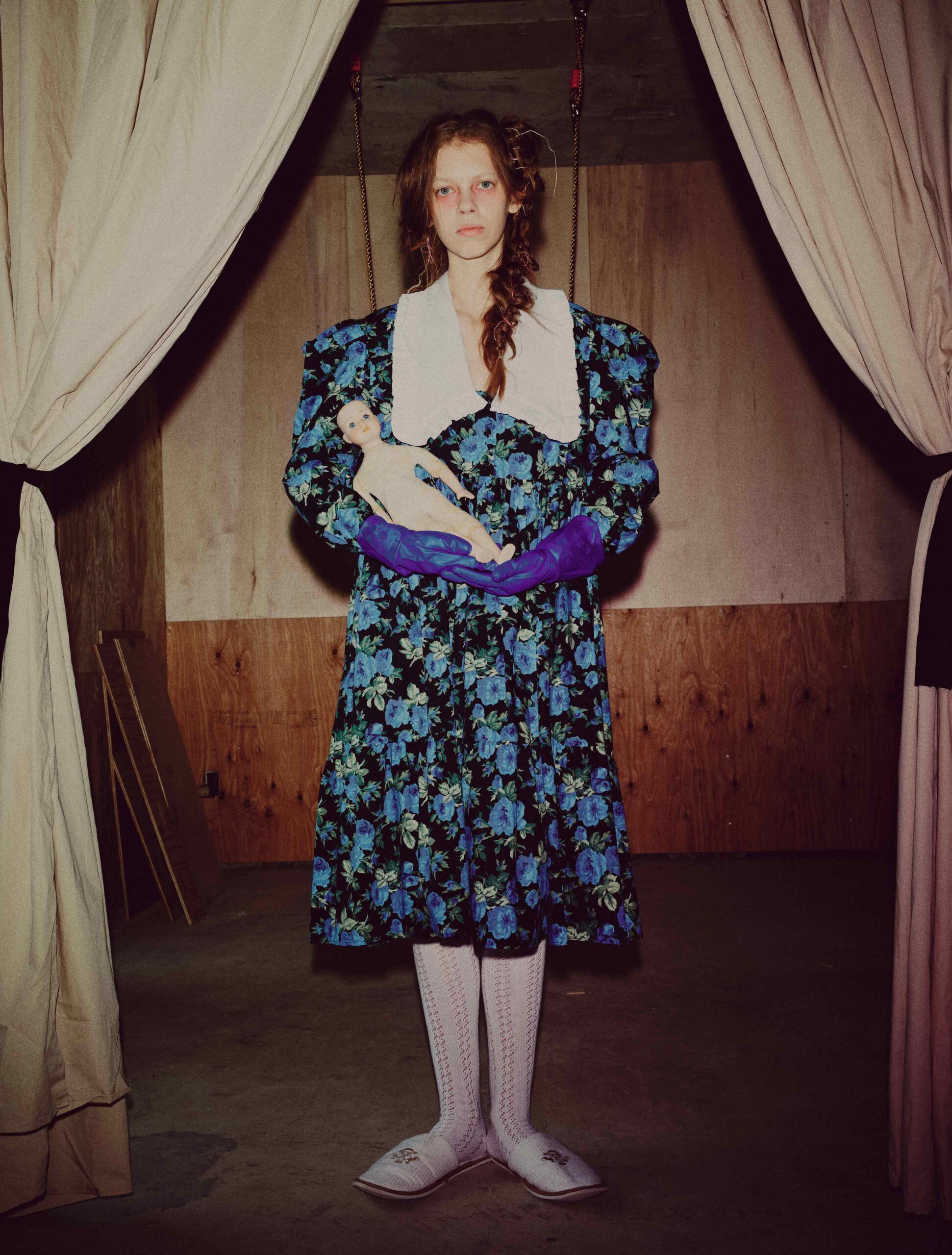 Melampo-Hausaufgaben-Collection-flower-maxi-collar-dress